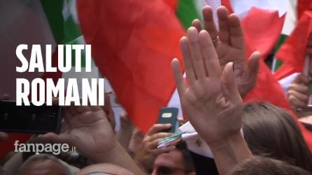 """FdI e Lega in piazza per """"difendere la democrazia"""". Saluti romani in piazza"""