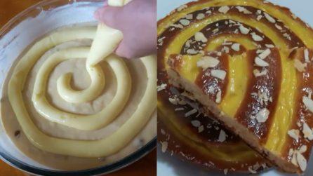 Torta girella con crema pasticcera: bella, semplice e buonissima