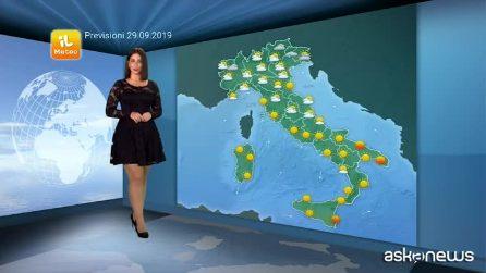 Previsioni meteo per domenica, 29 settembre