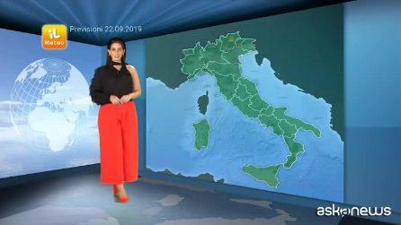 Previsioni meteo per domenica, 22 settembre