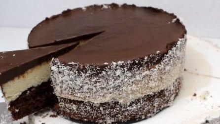 Torta al cioccolato e cocco: alta, bella e golosissima