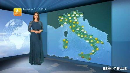 Previsioni meteo per martedì, 1 ottobre