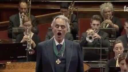 """Terremoto, Andrea Bocelli canta """"Fratelli d'Italia"""" e raccoglie fondi per Camerino"""