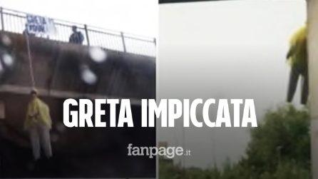 """Roma, fantoccio di Greta Thunberg impiccato dal cavalcavia. Raggi: """"Atto vergognoso"""""""