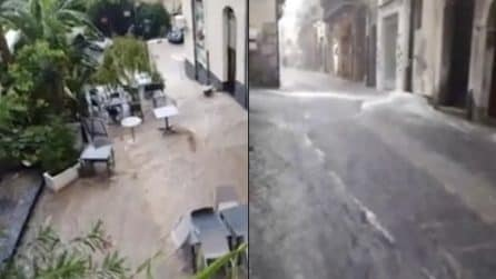 Bomba d'acqua a Cefalù: strade come fiumi