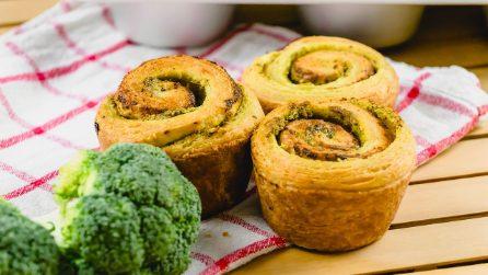 Rotolini di pasta sfoglia al pesto di broccoli: croccanti e saporiti, perfetti per l'aperitivo!