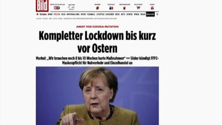 Merkel: altre 8-10 settimane di lockdown, in Baviera obbligo ffp2