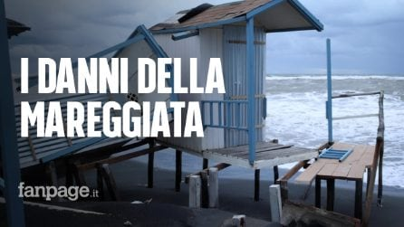 Maltempo, i danni della mareggiata a Ostia: spiagge scomparse e stabilimenti distrutti