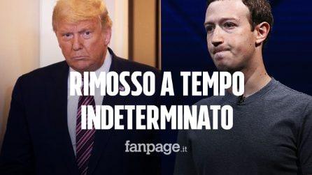 """Trump rimosso da Facebook a tempo indeterminato, Zuckerberg: """"Rischi troppo grandi"""""""