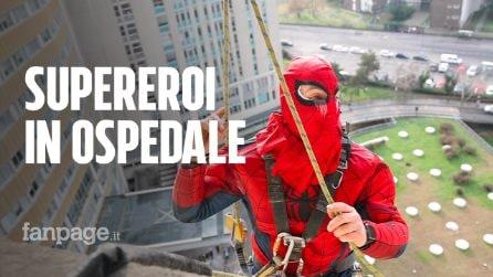 Milano, il regalo dei supereroi acrobatici per i bambini ricoverati all'ospedale San Paolo