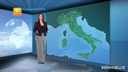 Previsioni meteo per martedì, 15 ottobre