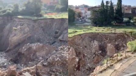 Maltempo in Sicilia: gigantesca voragine dopo il nubifragio