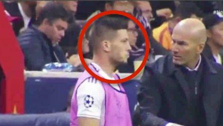 Zidane parla a Jovic prima che entri in campo: la faccia del serbo è tutta un programma