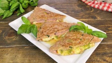 Tramezzini di carne con prosciutto, formaggio e pesto: la ricetta gustosa pronta in 20 minuti!