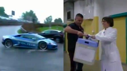 Le Lamborghini della polizia salvano la vita alle persone: le immagini emozionanti
