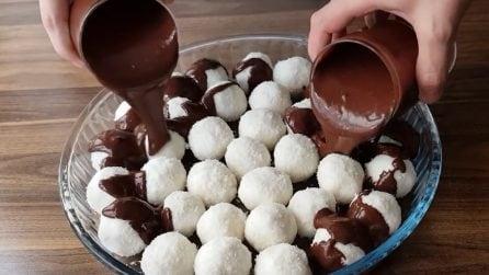 Praline cocco e cioccolato: la ricetta del dessert veloce e goloso