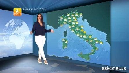 Previsioni meteo per giovedì, 14 novembre
