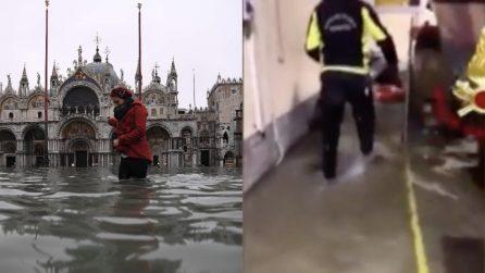 Venezia sott'acqua, senza sosta il lavoro di soccorso dei vigili del fuoco