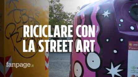 Tor Pignattara, riciclare con la street art: le campane del vetro diventano opere d'arte