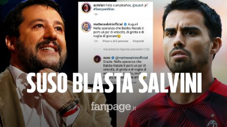 """Salvini provoca Suso: """"Gioca meglio"""". Lui lo zittisce così: """"Amministra meglio l'Italia"""""""