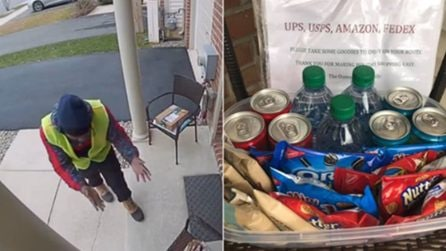 Il ragazzo delle consegne di Amazon trova una sorpresa in veranda: la stupenda reazione