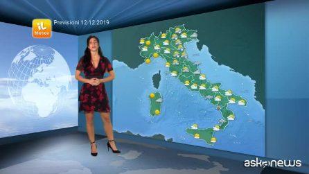 Previsioni meteo per giovedì, 12 dicembre