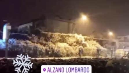 Arriva la neve ad Alzano Lombardo: il paesaggio imbiancato