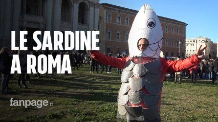 """Sardine a Roma, le voci dei manifestanti: """"Siamo la lisca nella gola dei politici"""""""