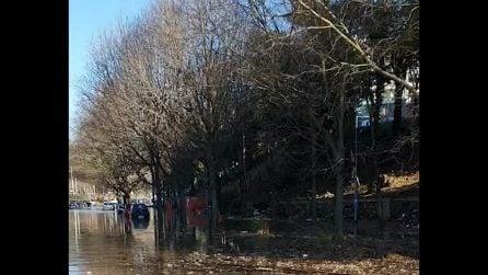 Si rompe una conduttura idrica ai Parioli: strada completamente allagata