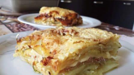 Tortino di patate con prosciutto e formaggio: la ricetta semplice e saporita