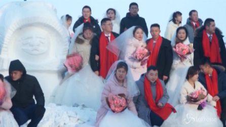 43 matrimoni tra le sculture del ghiaccio più grandi al mondo