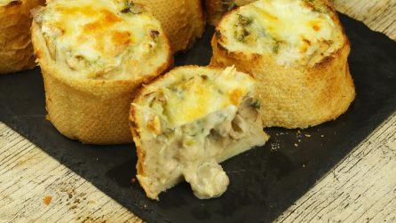 Baguette farcite con funghi: perfette per un aperitivo sfizioso e veloce da preparare!