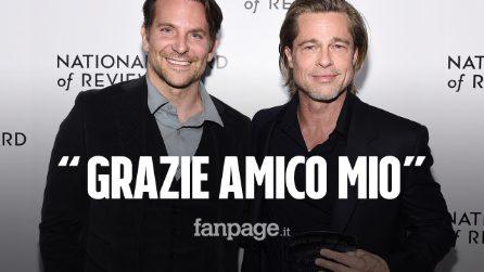"""Brad Pitt ringrazia commosso Bradley Cooper al NBR 2020: """"Grazie a lui sono sobrio e felice"""""""