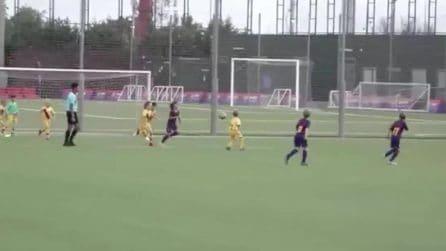 Il primo gol di Thiago Messi ripreso dalle telecamere