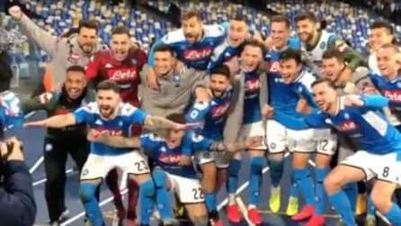 Napoli-Juventus 2-1: la gioia degli azzurri dopo la vittoria