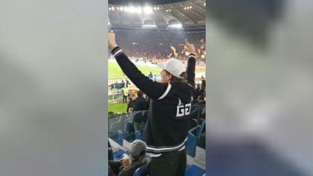 Roma-Lazio, Zaniolo non si contiene: esulta e urla al gol di Dzeko
