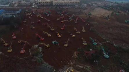Virus Cina, iniziati i lavori per l'ospedale da 1000 posti letto: verrà costruito in 6 giorni