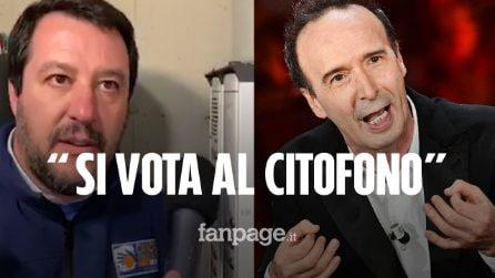 """Roberto Benigni provoca Matteo Salvini: """"Quest'anno a Sanremo si può votare anche al citofono"""""""