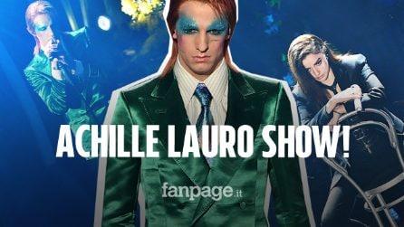 Sanremo 2020 è Achille Lauro Show: arriva sul palco vestito da David Bowie