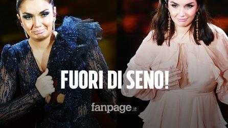 Elettra Lamborghini fuori di seno a Sanremo: le tutine aderenti non contengono le forme