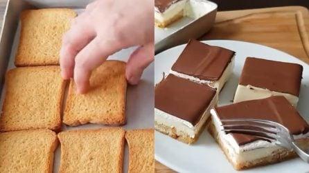 Quadrotti cioccolato e panna senza cottura: impossibile resistere
