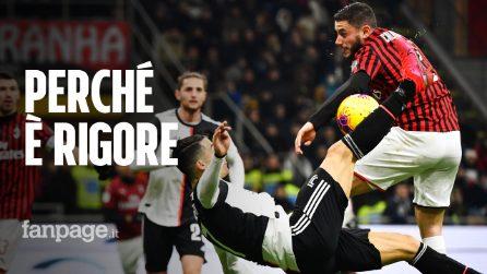 Milan-Juventus, fallo di mano di Calabria sulla rovesciata di Cristiano Ronaldo: perché è rigore
