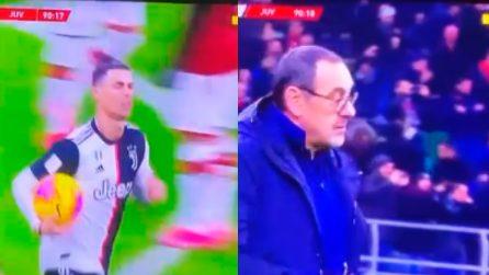 """Milan-Juve, Georgina su Ronaldo: """"Che bel ragazzo"""". Poi viene inquadrato Sarri: """"Questo no"""""""