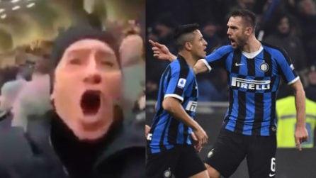 Inter-Milan, un tifoso scatenatissimo esulta al gol di De Vrij: ma non è uno qualunque