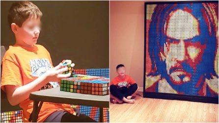 """A 9 anni crea ritratti con 750 cubi di Rubik: """"La dislessia è il mio superpotere"""""""