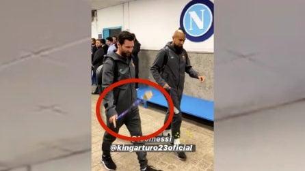 Il Barcellona arriva al San Paolo: il gesto di Messi