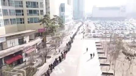 La fila chilometrica per una mascherina: il video impressionante