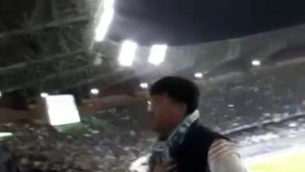 """""""Non ho il coronavirus, forza Napoli"""": l'urlo del cittadino cinese allo stadio San Paolo"""