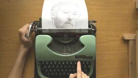 L'artista capace di fare dei bellissimi ritratti con una vecchia macchina da scrivere