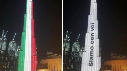 """Dubai, il Burj Khalifa si illumina per l'Italia: """"Siamo con voi"""""""